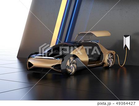 充電スタンドに充電している自動運転高級サルーンのイメージ 49364427