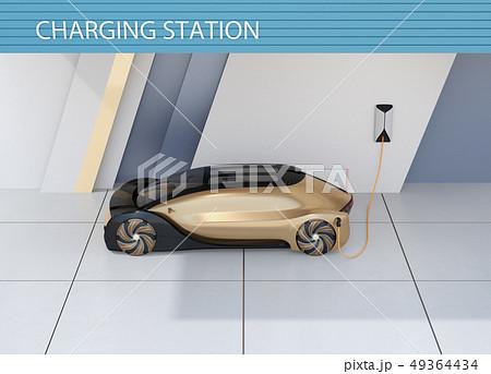 充電ステーションに充電している自動運転高級サルーンのイメージ 49364434