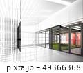 sketch design of interior hall, 3d rendering 49366368