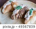 Croissant with Tuna Salad  Sandwich on wood table 49367839