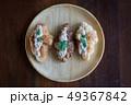 Croissant with Tuna Salad  Sandwich on wood table 49367842