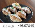 Croissant with Tuna Salad  Sandwich on wood table 49367845