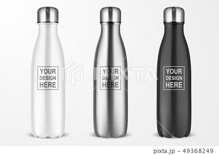 Vector Realistic 3d White, Silver and Black Empty Glossy Metal Reusable Water Bottle with Silver 49368249