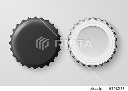 Vector 3d Realistic Black Blank Beer Bottle Cap Set Closeup Isolated on White Background. Design 49368253