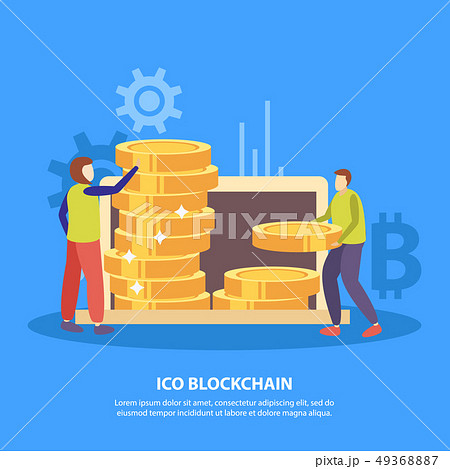 ICO Blockchain Flat Background  49368887