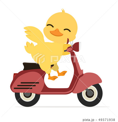 Duck  character riding a red motorcycle 49371938
