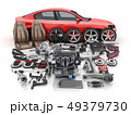 Red car body disassembled and many vehicles parts 49379730
