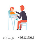 Father Feeding Baby Who is Sitting in Highchair, Parent Taking Care of His Child Vector Illustration 49381398