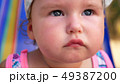 close-up, portrait of a little one year old babe on the beach. 49387200