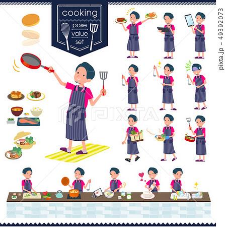 flat type pink shirt man_cooking 49392073