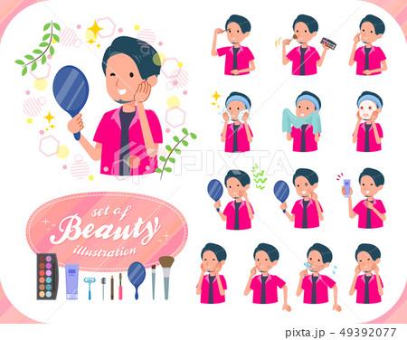 flat type pink shirt man_beauty 49392077