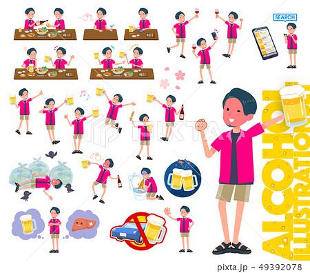 flat type pink shirt man_alcohol 49392078