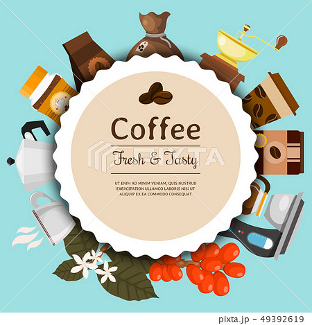 Coffee shop round pattern vector illustration. Morning coffee fresh and tasty. Organic and premium 49392619