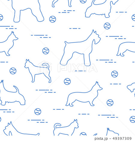Seamless pattern with dogs and tennis balls 49397309