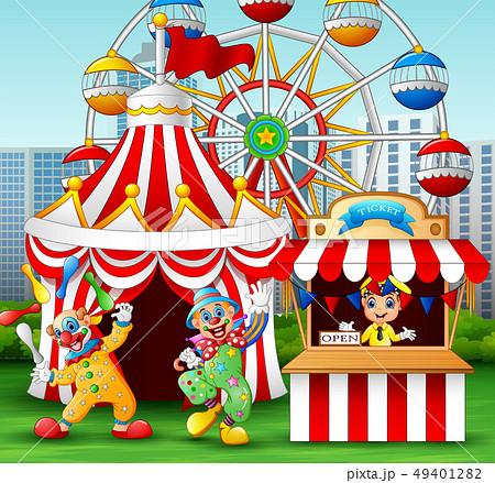Cartoon clown show acrobatic performance 49401282