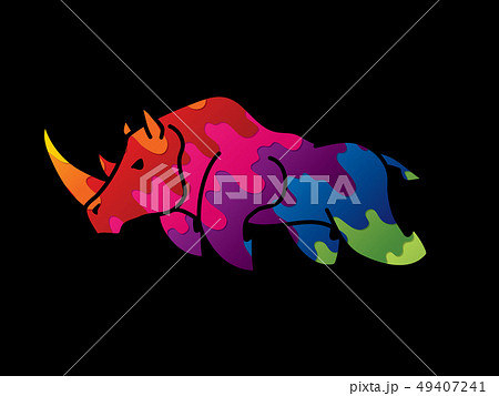 Angry Rhino attack graphic vector. 49407241
