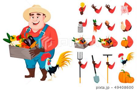 Funny gardener man cartoon character creation set 49408600
