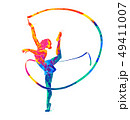 Abstract girl gymnast with ribbon from splash of watercolors 49411007