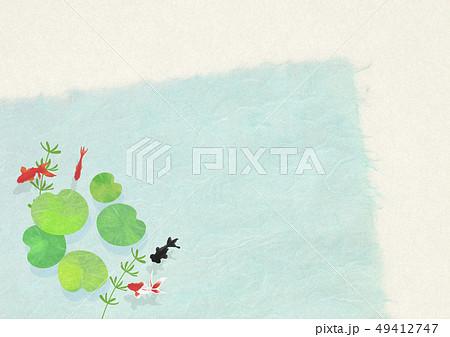 和紙-日本画-金魚-暑中見舞い-清涼感-水-蓮の葉 49412747