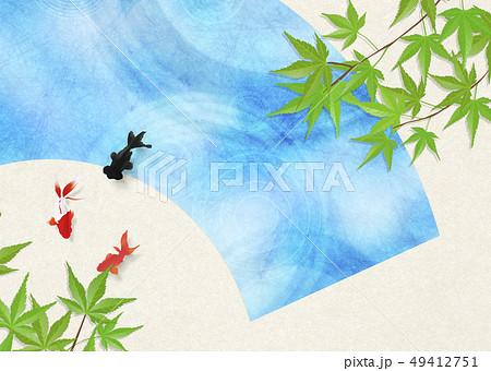和紙-日本画-金魚-暑中見舞い-清涼感-水-扇 49412751