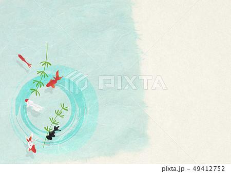 和紙-日本画-金魚-暑中見舞い-清涼感-水 49412752