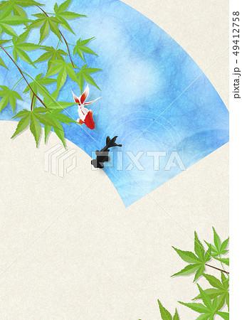 和紙-日本画-金魚-暑中見舞い-清涼感-水-扇 49412758