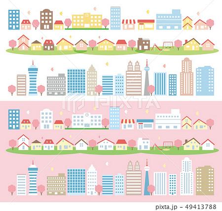 桜の木がある街並み 49413788