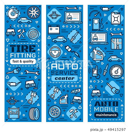 Car diagnostic repair station service thin line 49415297