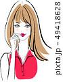 メイクした女性 赤いシャツ 49418628