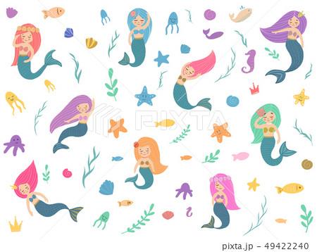 Beautiful and cute mermaids. 49422240