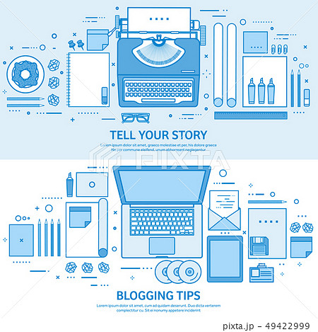 Typewriter and laptop. Tell your story. Author. Blogging platform. Flat blue outline background 49422999