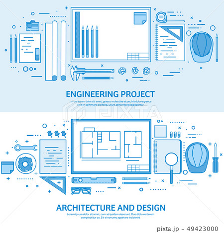 Engineering and architecture. Drawing construction. Architectural project. Design sketching 49423000