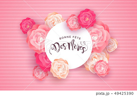 French Mothers Day card with pink rose flowers 49425390