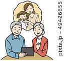 孫 お年寄り タブレットのイラスト 49426655