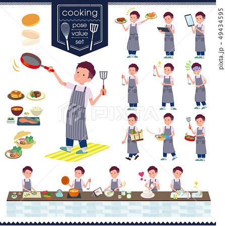 flat type big T-shirt man_cooking 49434595