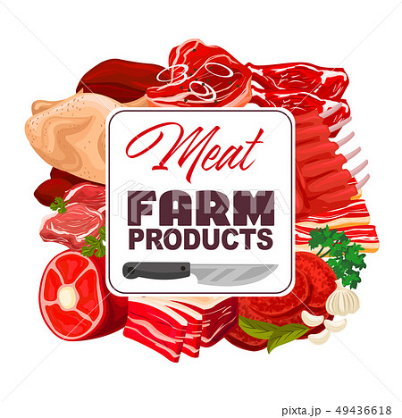 Meat of pork, beef and chicken. Butcher shop food 49436618