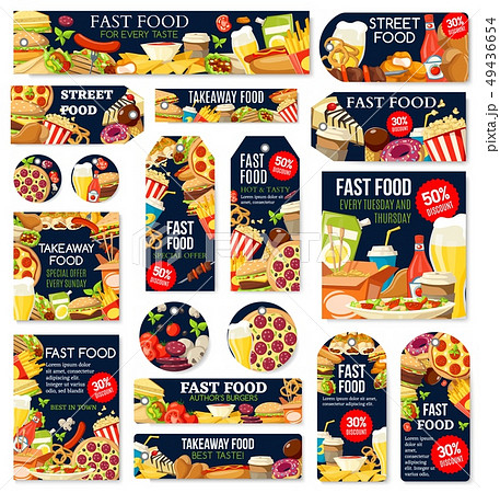 Fast food junk meal and drink labels and tags 49436654