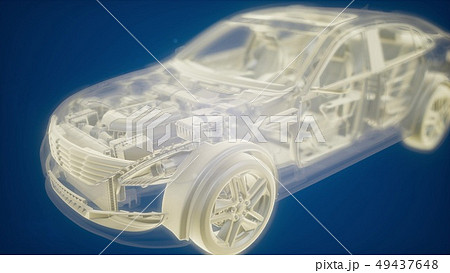Holographic animation of 3D wireframe car model 49437648