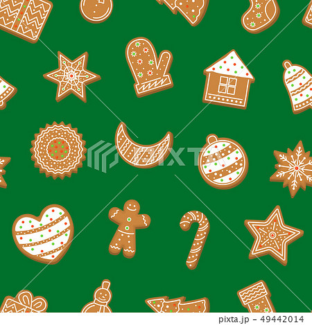 Cartoon Christmas Cookies Seamless Pattern Background. Vector 49442014