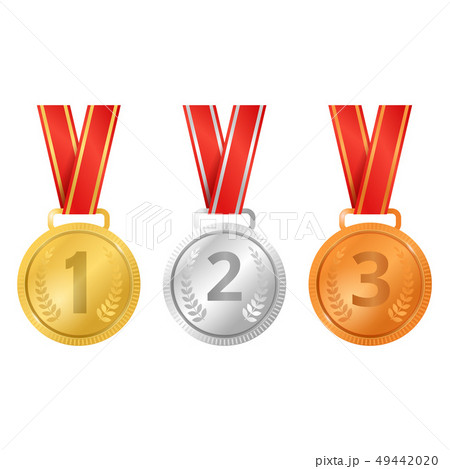 Realistic Detailed 3d Champion Different Medals Set. Vector 49442020