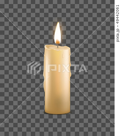 Realistic Detailed 3d Burning Wax Candle on a Transparent Background . Vector 49442061