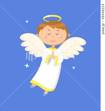 Calm Boy Angel Praying, Peaceful Angelic Child 49446224
