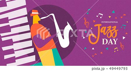 International Jazz day poster of saxophone player 49449793