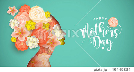 Happy Mothers Day card of papercut mom and flowers 49449884