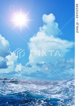 入道雲と荒波と太陽 49450596