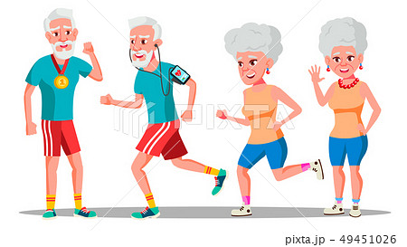 Jogger Old People Vector. Jogger Couple. Active Health Training. Illustration 49451026