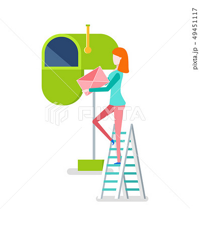 Woman on Stairs Putting Envelope in Mailbox Vector 49451117