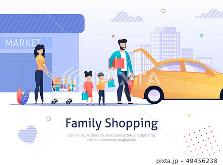 Family Shopping, Cart with Bags, Goods near Car. 49456238