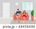 Man and Girl sitting on the sofa 49456490