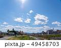 桜並木の南浅川と高尾山 49458703